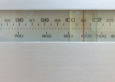 Hi-Fi Radio Tuner. Close-Up of the frequency selector of a radio tuner Stock Photo