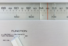 Hi-Fi Radio Tuner. Close-Up of the frequency selector of a radio tuner Royalty Free Stock Photography