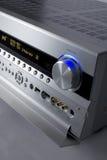 Hi-Fi receiver. A photo of silver receiver Royalty Free Stock Photos