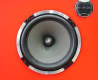 Hi-fi sound speaker box. Red speaker box and black silk hifi tweeter. Hi-fi sound speaker box. Red speaker box and black silk hifi tweeter with diffuser stock image