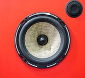 Hi-fi sound speaker box. Red speaker box and black silk hifi tweeter. Hi-fi sound speaker box. Red speaker box and black silk hifi tweeter with diffuser stock photo