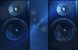 Hi-Fi speaker blue background Royalty Free Stock Photo