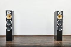 Hi-fi Speaker PAir. Hi-fi speakers in a room Royalty Free Stock Image