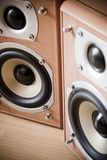 Hi-Fi Speakers. Pair of Hi-Fi Speakers. Wood tone with exposed horns royalty free stock photos