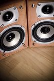 Hi-Fi Speakers. Front view of Hi-Fi speakers.  Horns are exposed.  Wood tone cabinets Stock Photography