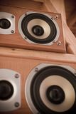 Hi-Fi Speakers. Two stereo speakers, with focus on the top speaker Stock Photo
