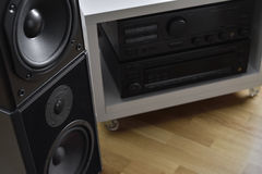 Hi-Fi system with amplifier and high end graphic equalizer Stock Images