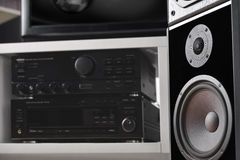 Hi-Fi system with speakers. Close up of Hi-Fi system with loud speakers system for monitoring sound royalty free stock images