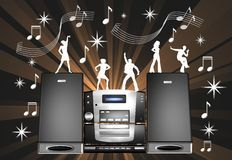 Hi-fi System With Dancing People Royalty Free Stock Image