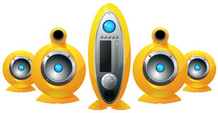 Hi-Fi  yellow speakers system Stock Photography