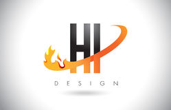 HI H I Letter Logo with Fire Flames Design and Orange Swoosh. HI H I Letter Logo Design with Fire Flames and Orange Swoosh Vector Illustration Stock Photos
