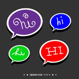 Hi Handwritten balloon speech 5 great for any use. Vector EPS10. Stock Photos