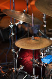 Hi-Hat (hihat) and cymbals on live stage. Hi-Hat,  a crucial part of any drum kit (cymbals), percussion music instrument, closeup Stock Photos