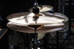 Hi-hat on stage, combination cymbal in a percussion drum kit for Royalty Free Stock Photo