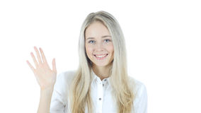 Hi, Hello,  Woman Waving Hand, Welcome , Portrait On White Background Stock Image