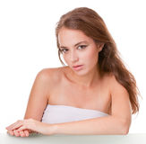 Young woman face on white Royalty Free Stock Photos
