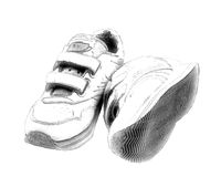 Hi Key Sneakers. Computer generated sketch of sneakers in Hi-Key Royalty Free Stock Photography