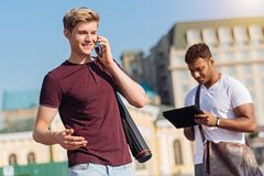 Positive student going to visit lessons stock images