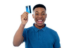 Hi! This is my new credit card! Royalty Free Stock Photo