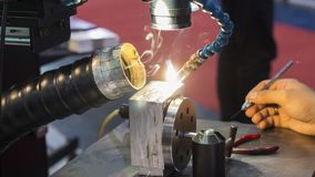 The hi-precision welding process. Laser welding equipment Stock Images