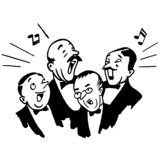 Vintage Clipart 244 Mens Barbershop Quartet Chorus Singing