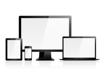 Hi Quality Vector Electronic Devices. A group of four vector electronic devices with blank screens Stock Photos