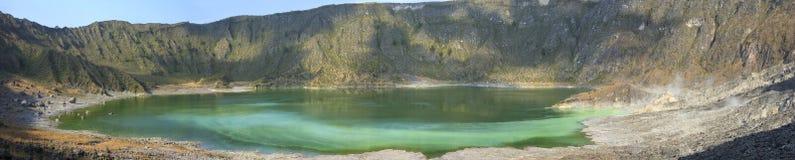 Hi res panoramic acidic green lake in volcano Royalty Free Stock Photos