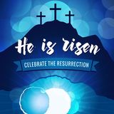 Hi is risen holy week easter navy blue banner. Easter christian motive, vector invitation to an Easter Sunday service with text He is risen on a background of Stock Images