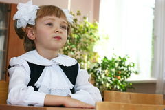 Hi, school!. The schoolgirl sits at a school desk Royalty Free Stock Image