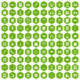 100 hi-school icons hexagon green. 100 hi-school icons set in green hexagon isolated vector illustration stock illustration