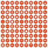 100 hi-school icons hexagon orange. 100 hi-school icons set in orange hexagon isolated vector illustration Stock Photos