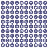 100 hi-school icons hexagon purple. 100 hi-school icons set in purple hexagon isolated vector illustration Stock Image