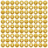 100 hi-school icons set gold. 100 hi-school icons set in gold circle isolated on white vectr illustration Vector Illustration