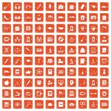 100 hi-school icons set grunge orange. 100 hi-school icons set in grunge style orange color isolated on white background vector illustration Royalty Free Stock Photos