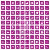 100 hi-school icons set grunge pink. 100 hi-school icons set in grunge style pink color isolated on white background vector illustration Stock Image