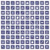 100 hi-school icons set grunge sapphire. 100 hi-school icons set in grunge style sapphire color isolated on white background vector illustration Stock Images