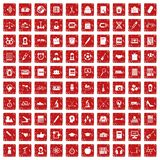 100 hi-school icons set grunge red. 100 hi-school icons set in grunge style red color isolated on white background vector illustration Stock Photos