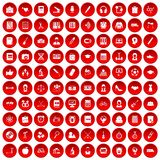 100 hi-school icons set red. 100 hi-school icons set in red circle isolated on white vectr illustration stock illustration