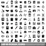 100 hi-school icons set, simple style. 100 hi-school icons set in simple style for any design vector illustration Royalty Free Stock Images