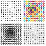 100 hi-school icons set vector variant. 100 hi-school icons set vector in 4 variant for any web design isolated on white Royalty Free Stock Photos