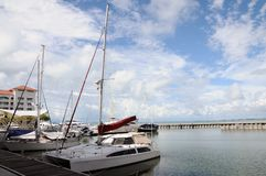 Hi speed boat in marina Stock Photography
