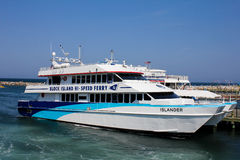 Hi-Speed Ferry docked in Block Island, RI. Stock Image