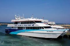 Hi-Speed Ferry docked in Block Island, RI. Stock Image