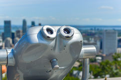 Hi-Spy viewing machines overlooking Montreal. Skyline Royalty Free Stock Image