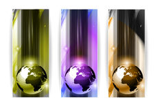 Hi Tech 3d Earth Banners. Hi Tech business card or web header backgrounds with 3D earth design and 3 colours option Stock Photos