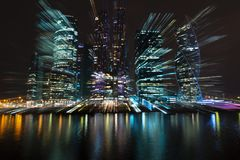 Cityscape of skyscrapers of Moscow City. Hi-tech abstract background. Cityscape of skyscrapers of Moscow City Zooming Royalty Free Stock Image