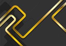 Hi-tech abstract background with golden stripes. Vector design stock illustration