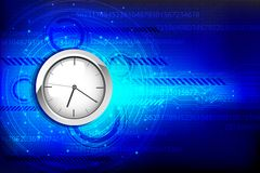 Hi Tech Background with Clock Royalty Free Stock Image