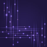 Hi-Tech background with glowing string. Luminous intersecting lines with shining dots. Abstract striped background with Stock Photo