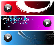Hi-tech banners. Abstract design, musical banners with play buttons. Great for many uses Stock Images